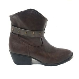 "Betani | Brown Strap ""Western"" Booties"
